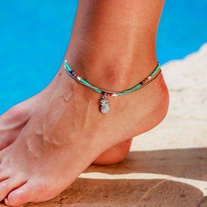 Pineapple multilayers Beads Ankle Foot bracelet